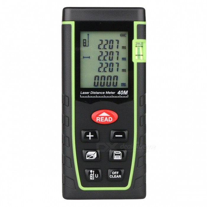 BLCR T40 40m Digital Laser Distance Meter Laser RangefinderLaser Rangefinder, Electronic Distance Meter<br>Form  Color40MModelT40Quantity1 DX.PCM.Model.AttributeModel.UnitMaterialABSDetection Range0.05~40mMeasuring Accuracy+/-2mmLaser LevelClass IIMax.Storage60 unitsDisplay1.8 LCDPowered ByAAA BatteryBattery included or notNoEnglish Manual / SpecYesPacking List1 x Laser Distance Meter1 x Portable Pouch1 x Hanging Rope<br>