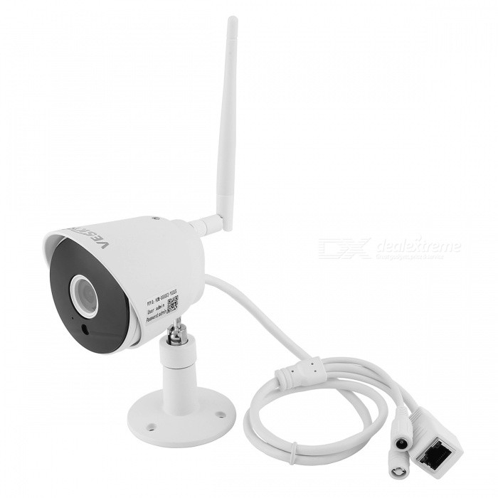 VESKYS 2.0MP 1080P Mini Waterproof Wireless IP Camera (UK Plug)IP Cameras<br>Form  ColorWhitePower AdapterUK PlugModelN/AMaterialAluminum alloyQuantity1 DX.PCM.Model.AttributeModel.UnitImage SensorCMOSImage Sensor SizeOthers,1/4INCHPixels2.0MPLensOthers,4mmViewing Angle90 DX.PCM.Model.AttributeModel.UnitVideo Compressed FormatH.264Picture Resolution1960*1080PFrame Rate25FPSInput/OutputN/AAudio Compression FormatNoMinimum Illumination0.3 DX.PCM.Model.AttributeModel.UnitNight VisionYesIR-LED Quantity6Night Vision Distance10 DX.PCM.Model.AttributeModel.UnitWireless / WiFi802.11 b / g / nNetwork ProtocolTCP,IP,SMTPSupported SystemsWindows 2000,2003,XP,Vista,7Supported BrowserIE 6.0 and aboveSIM Card SlotNoOnline Visitor4IP ModeDynamic,StaticMobile Phone PlatformAndroid,iOSFree DDNSYesIR-CUTYesBuilt-in Memory / RAMNoLocal MemoryYESMemory CardTFMax. Memory Supported128GBMotorNoSupported LanguagesEnglish,Simplified ChineseWater-proofIP67Rate Voltage12VPacking List1 x IP camera (60cm-cable)1 x Antenna1 x AC power adapter (UK plug / 100~240V / 160cm-cable)1 x English user manual 1 x Pack of installation accessories<br>