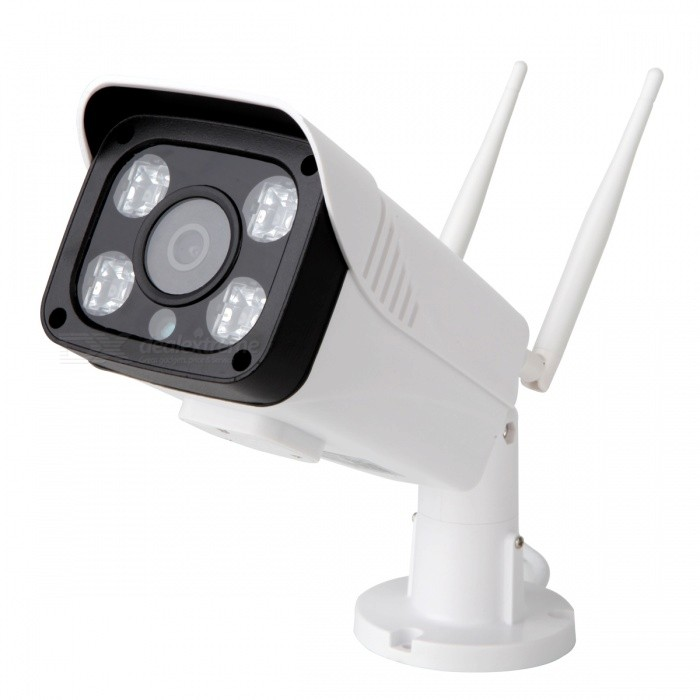 VESKYS® 1.3MP Waterproof Wi-Fi Surveillance IP Camera (US Plug)IP Cameras<br>Form  ColorWhitePower AdapterUS PlugModelN/AMaterialABSQuantity1 DX.PCM.Model.AttributeModel.UnitImage SensorCMOSImage Sensor SizeOthers,1/4INCHPixels1.3MPLens3.6mmViewing Angle90 DX.PCM.Model.AttributeModel.UnitVideo Compressed FormatH.264Picture Resolution1280*960PFrame Rate25FPSMinimum Illumination0.3 DX.PCM.Model.AttributeModel.UnitNight VisionYesIR-LED Quantity4Night Vision Distance15 DX.PCM.Model.AttributeModel.UnitWireless / WiFi802.11 b / g / nNetwork ProtocolTCP,IP,SMTPSupported SystemsOthers,NOSupported BrowserOthers,NOSIM Card SlotNoOnline Visitor4IP ModeDynamic,StaticMobile Phone PlatformAndroid,iOSFree DDNSYesIR-CUTYesLocal MemoryYesMemory CardTFMax. Memory Supported64GBMotorNoSupported LanguagesEnglish,Simplified ChineseWater-proofIP67Rate Voltage12VPacking List1 x IP camera (50cm-cable)2 x Antennas1 x AC power adapter (US plug / 100~240V )1 x English user manual1 x Pack of installation accessories<br>