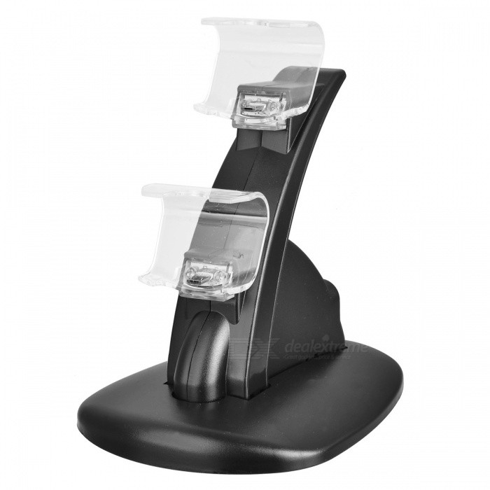 Dual USB Charging Dock Charger for Sony Playstation 4 GamepadControllers Attachments<br>Form  ColorBlackQuantity1 DX.PCM.Model.AttributeModel.UnitMaterialPlasticShade Of ColorBlackCompatible ModelsOthers,Sony Playstation 4 Controller GamepadCertificationN/APacking List1 x Dual Charging Dock for PS4 Gamepad (Battery not included)1 x USB Cable<br>