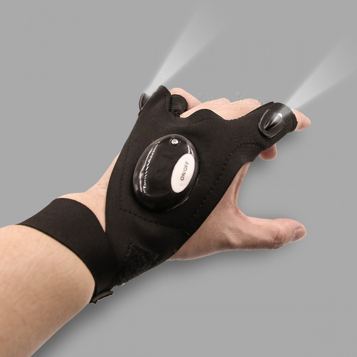 Multipurpose Light Up LED Half-Finger Glove for Working in Dark Places