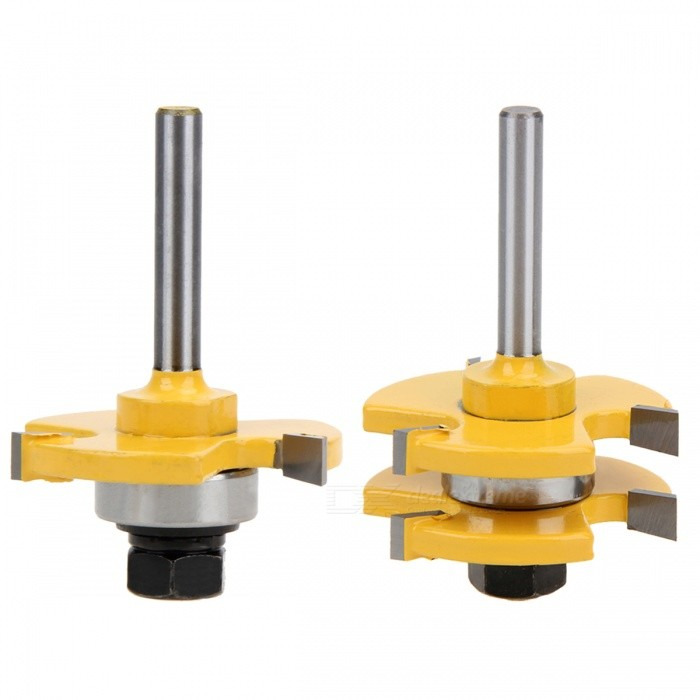 Buy 2Pcs Tongue & Groove Router Bit 3 Teeth T-shape Wood Milling Cutters with Litecoins with Free Shipping on Gipsybee.com