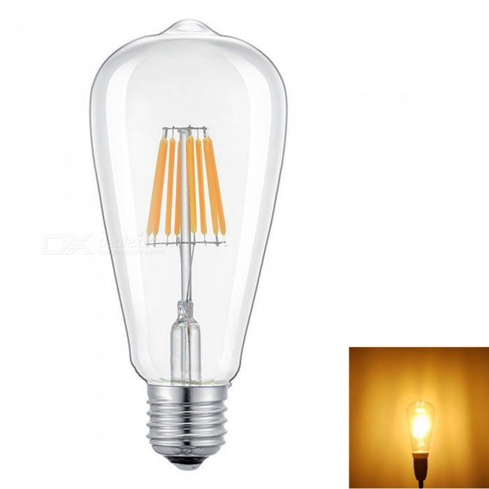 ZHAOYAO E27 8W Dimmable COB LED Glass Lamp Light Bulb - Warm White