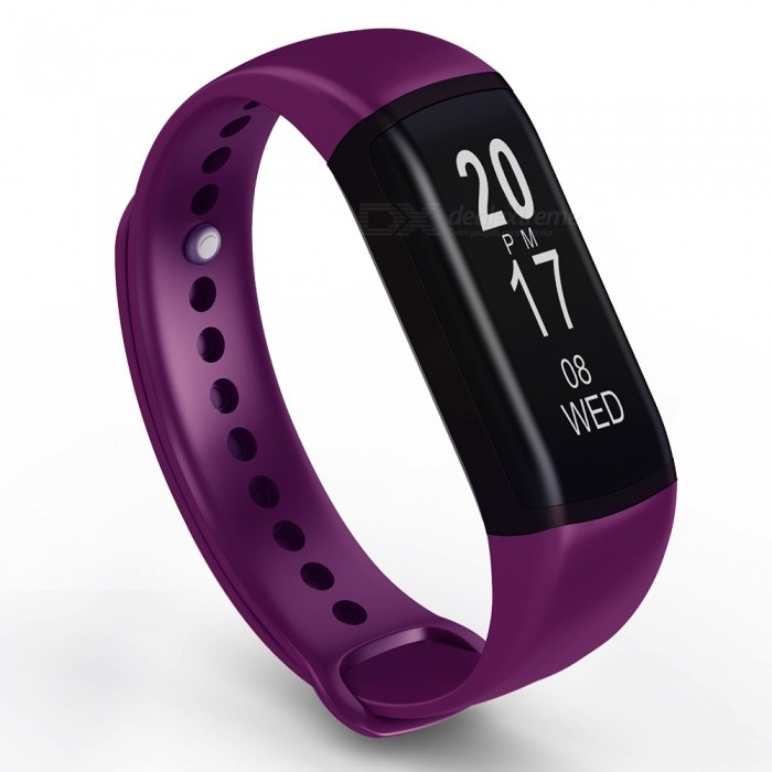 """B19 0.87"""" OLED Smart Bluetooth Bracelet with Heart Rate Blood Pressure Health Monitoring - Purple"""
