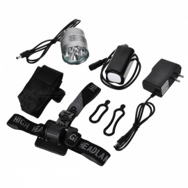 ZHAOYAO T6 5-LED Super Bright 3-Mode Mountain Bike Headlamp Kit - Light Grey