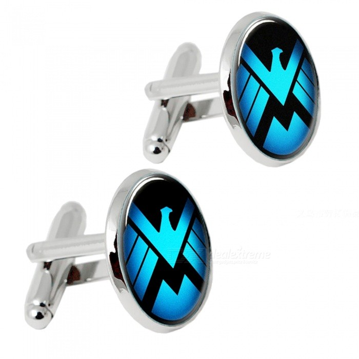 Buy Premium Alloy Eagle Pattern Men's Cufflinks - Silver + Blue (1 Pair) with Litecoins with Free Shipping on Gipsybee.com