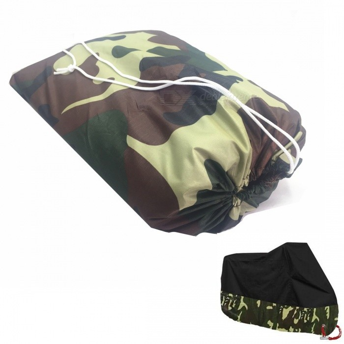 Rainproof Dustproof Motorcycle Cover Hood - Black + Camouflage (L)Others<br>Form  ColorBlack + Camouflage (L)Model01Quantity1 pieceMaterialPolyester fiberTypeOthers,Motorcycle coverWaterproof FunctionYesPacking List1 x Motorcycle cover1 x Storage bag<br>