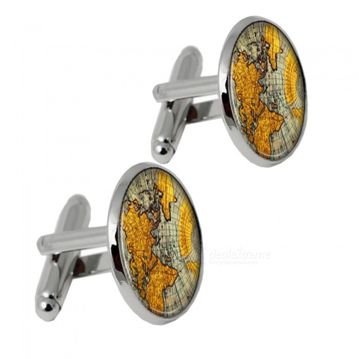 002 Alloy World Map Pattern Men Cufflinks - Silver + Yellow (1 Pair)Cufflinks<br>Form  ColorSilver + YellowQuantity2 DX.PCM.Model.AttributeModel.UnitShade Of ColorSilverMaterialAlloyPacking List2 x Cufflinks<br>