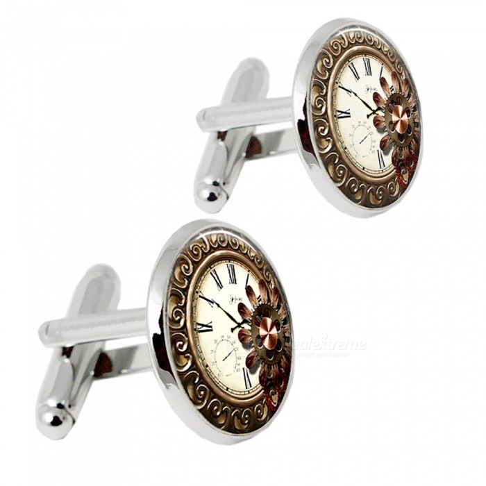 001 Alloy Clock Pattern Men's Cufflinks - Silver + Multicolor (1 Pair) for sale in Bitcoin, Litecoin, Ethereum, Bitcoin Cash with the best price and Free Shipping on Gipsybee.com