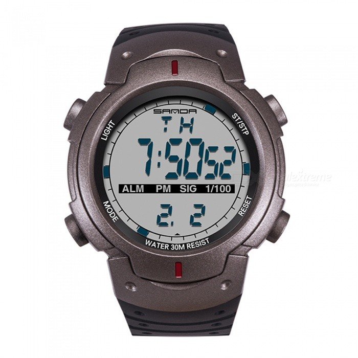 SANDA Sports 30M Waterproof Movement Timekeeping Watch - Black + Grey