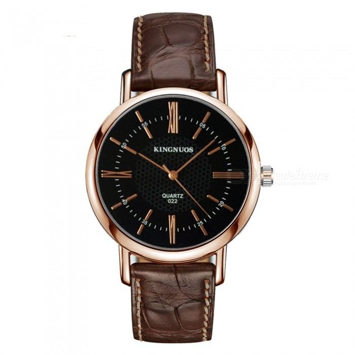 Kingnuos stylish pu leather band roman numerals quartz watch rose gold brown black free for Kingnuos watch