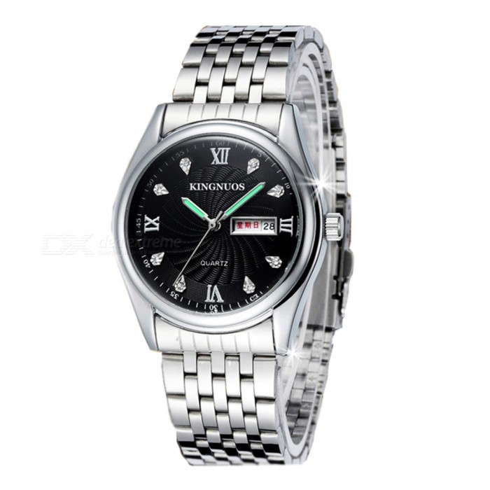 Men 39 s watches kingnuos fine steel double calendar luminous watch silver black was listed for Kingnuos watch