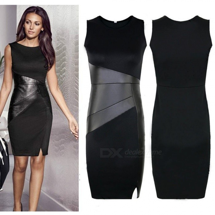 Slim Fashion Sexy Sleeveless Dress Pencil Skirt - Black (XXL)Dresses<br>Form  ColorBlackSizeXXLQuantity1 pieceShade Of ColorBlackMaterialFibersStyleFashionChest Girth110 cmWaist Girth96 cmHip Girth112 cmTotal Length94 cmSuitable for Height155-175 cmPacking List1 x Dress<br>