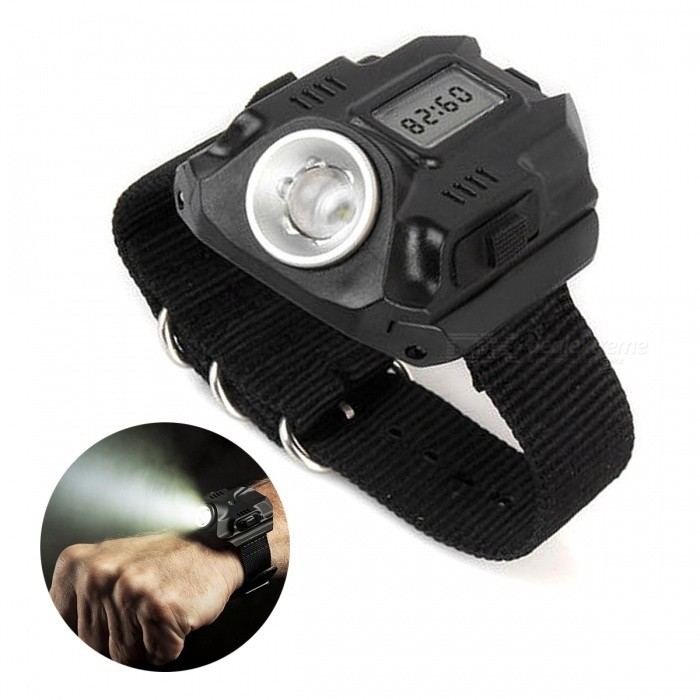 Portable 3-Mode Wrist Watch Type LED Flashlight - Black for sale in Bitcoin, Litecoin, Ethereum, Bitcoin Cash with the best price and Free Shipping on Gipsybee.com
