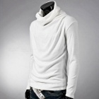 Men's Stylish Casual Slim Long Sleeves Heaps Collar Cotton T-shirt Tee - White (XXL)