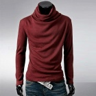 Stylish-Mens-Casual-Slim-Long-sleeved-T-shirt-Blouse-Wine-Red-(L)