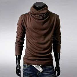 Mens-Stylish-Casual-Slim-Long-Sleeves-Heaps-Collar-Cotton-T-shirt-Tee