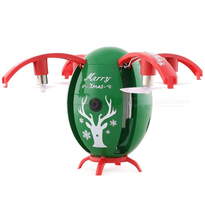 JJRC H66 Xmas Egg 720P Wi-Fi FPV Selfie RC Drone with Gravity Sensor, Altitude Hold Mode - GreenR/C Airplanes&amp;Quadcopters<br>Form  ColorGrass GreenModelH66MaterialABSQuantity1 DX.PCM.Model.AttributeModel.UnitShade Of ColorGreenGyroscopeYesChannels Quanlity4 DX.PCM.Model.AttributeModel.UnitFunctionUp,Down,Left,Right,Forward,Backward,Stop,Hovering,Sideward flightRemote TypeRadio ControlRemote control frequency2.4GHzRemote Control RangeR/C Distance: About 50m FPV Distance: About 30 DX.PCM.Model.AttributeModel.UnitSuitable Age 13-24 months,12-15 years,Grown upsCameraYesCamera PixelOthers,WIFI 720PLamp YesBattery TypeLi-ion batteryBattery Capacity3.7V 300 DX.PCM.Model.AttributeModel.UnitCharging Time45 DX.PCM.Model.AttributeModel.UnitWorking Time6 DX.PCM.Model.AttributeModel.UnitRemote Controller Battery TypeAAARemote Controller Battery Number2 X AAA 1.5V(Not Included)Remote Control TypeWirelessModelMode 2 (Left Throttle Hand)CertificationCEPacking List1 x JJRC H66 RC Quadcopter (Built-in 720P HD Camera)1 x Transmitter1 x 3.7V 300mAh Li-po Battery (Built-in)1 x USB Cable4 x Propellers1 x Door1 x Manual<br>