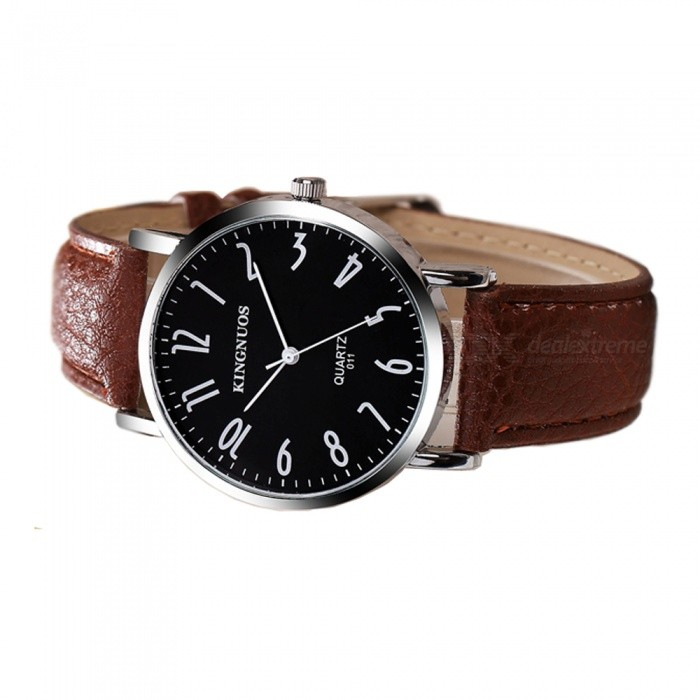 Men 39 s watches kingnuos men 39 s pu leather band quartz wrist watch brown black was listed for for Kingnuos watch