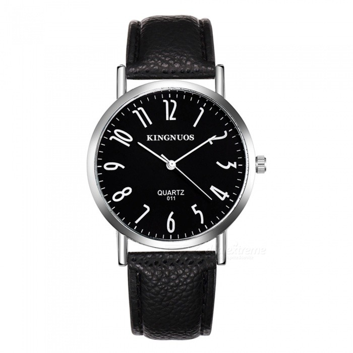 Men 39 s watches kingnuos men 39 s pu leather band quartz wrist watch black silver was listed for Kingnuos watch