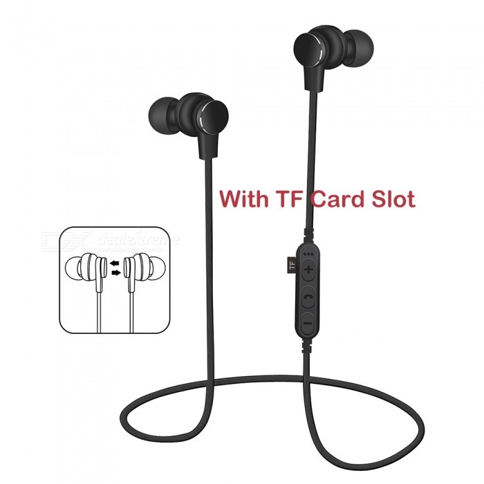 Sports Wireless Bluetooth Earphones Headset Stereo Waterproof Noise Cancelling Headphones with Mic / TF Card Slot - BlackHeadphones<br>Form  ColorBlackBrandOthers,VIGROSModelBTMaterialABS + MetalQuantity1 DX.PCM.Model.AttributeModel.UnitConnectionBluetooth,Others,TF CardBluetooth VersionBluetooth V4.2Bluetooth ChipJLOperating Range10MConnects Two Phones SimultaneouslyYesCable Length60 DX.PCM.Model.AttributeModel.UnitLeft &amp; Right Cables TypeEqual LengthHeadphone StyleHeadband,Earbud,In-Ear,NeckbandWaterproof LevelIPX4Applicable ProductsUniversalHeadphone FeaturesHiFi,English Voice Prompts,Phone Control,Long Time Standby,Magnetic Adsorption,Noise-Canceling,With Microphone,Lightweight,Portable,Invisible Style,For Sports &amp; ExerciseRadio TunerYesSupport Memory CardYesMemory Card SlotStandard TF CardSupport Apt-XNoSensitivity95dBFrequency Response20-20KHzImpedance16 DX.PCM.Model.AttributeModel.UnitDriver Unit2Battery TypeLi-ion batteryBuilt-in Battery Capacity 80 DX.PCM.Model.AttributeModel.UnitStandby Time150 DX.PCM.Model.AttributeModel.UnitTalk Time4-6 DX.PCM.Model.AttributeModel.UnitMusic Play Time6-8 DX.PCM.Model.AttributeModel.UnitPower AdapterUSBPacking List1 x Bluetooth Earphones1 x Charging Cable<br>