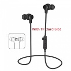Sports Wireless Bluetooth Earphones Headset Stereo Waterproof Noise Cancelling Headphones with Mic / TF Card Slot - Black