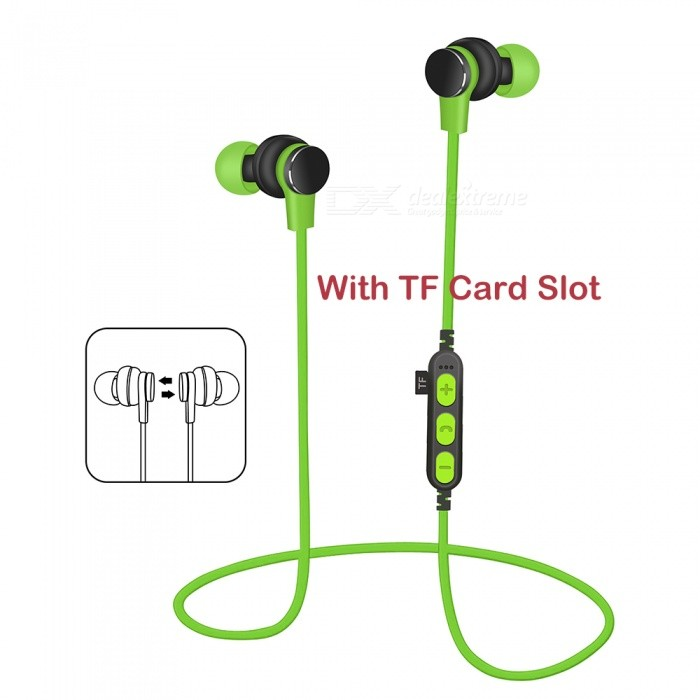 Sports Wireless Bluetooth Earphones Headset Stereo Waterproof Noise Cancelling Headphones with Mic / TF Card Slot
