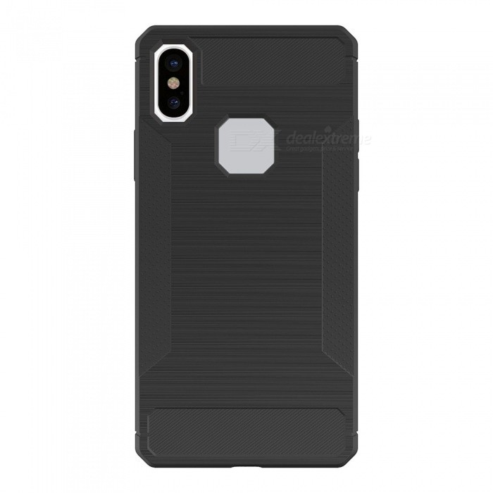 Mini Smile Protective Wire Drawing Carbon Fiber + TPU Back Case Anti-Slip Cover for IPHONE X