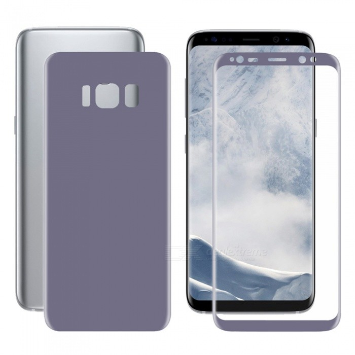 Hat-Prince 3D Full Screen Guard Front + Back Protector Film for Samsung Galaxy S8 - PurpleScreen Protectors<br>Form  ColorPurpleScreen TypeGlossyModel-MaterialPETQuantity1 DX.PCM.Model.AttributeModel.UnitCompatible ModelsSamsung Galaxy S8Features3D,HD,Fingerprint-proof,Scratch-proofPacking List1 x Front Protector1 x Back Protector1 x Dust Remover1 x Cleaning Cloth1 x Alcohol Prep Pad<br>