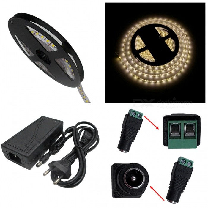 ZHAOYAO 70W  3528 SMD 600-LED Strip Light with 5A EU Plug Power Charger + DC Adapter (DC 12V)