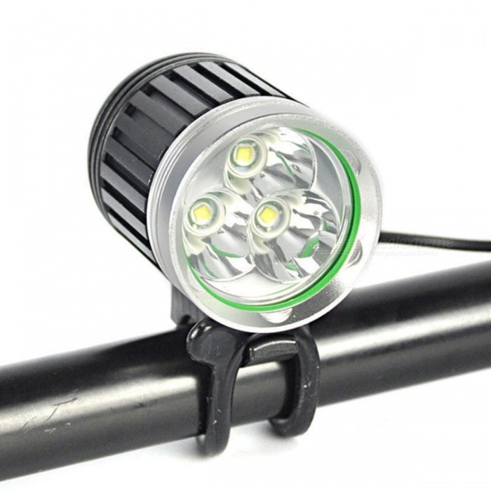 SPO Outdoor Aluminum Alloy 3T6 Headlamp Headlight High Power Bicycle Cycling Bike Light - Black + Silver