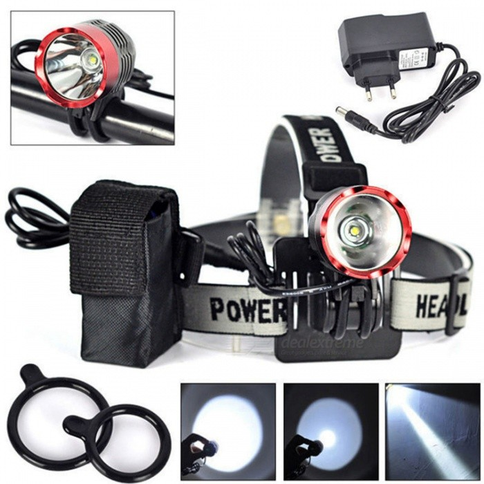 SPO T6 Rechargeable 3-Mode Bike Lamp Headlight for Night Cycling - Black, Red