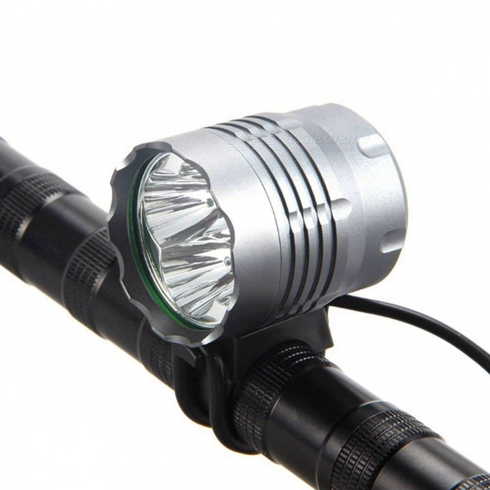 SPO T6 4-LED Waterproof Super Bright 3-Mode Bicycle Lamp HeadlampBike Lights<br>Form  ColorSilver GreyModelN4Quantity1 DX.PCM.Model.AttributeModel.UnitMaterialAluminum alloyEmitter BrandCreeLED TypeXM-LEmitter BINT6Number of Emitters4Color BINWhiteWorking Voltage   8.4-12 DX.PCM.Model.AttributeModel.UnitPower Supply4*18650 battery packCurrent2-4 DX.PCM.Model.AttributeModel.UnitTheoretical Lumens2400-4800 DX.PCM.Model.AttributeModel.UnitActual Lumens2400-4800 DX.PCM.Model.AttributeModel.UnitRuntime2.5-3 DX.PCM.Model.AttributeModel.UnitNumber of Modes3Mode ArrangementHi,Mid,Fast StrobeMode MemoryNoSwitch TypeForward clickyLensGlassReflectorAluminum SmoothFlashlight MountingHandlebar,HelmetSwitch LocationTail TwistyBeam Range200 DX.PCM.Model.AttributeModel.UnitBike Lamp Interface Size3.5MMBattery Pack Interface Size5.5MMPacking List1 x 2000lm XM-L T6 LED Light unit ( Can be used as Headlamp or Bicycie Light )1 x Adjustable headband1 x 8.4v 6400mAh Battery Pack1 x AC charger (100-240V)<br>