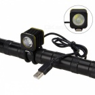USB Recargable 5V Bicicleta de la bici de la cabeza de la lámpara Set Mountain Bike Headlamp-UK tapón