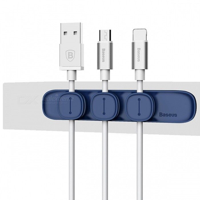 Baseus Durable Magnetic Cable Clip USB Cable Organizer Clamp Desktop Workstation Wire Cord Management Cable Winder - Dark BlueOther Interior<br>Form  ColorBaseus - Dark BlueModelPeas Cable Clip SimpleQuantity1 DX.PCM.Model.AttributeModel.UnitMaterialABS+TPUPacking List1 x Magnetic Cable Clip<br>