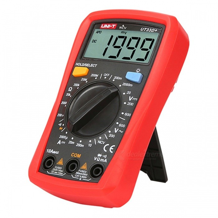 UNI-T UT33D + Portable Handheld Digital Multimeter with Backlight Function - Red + Black (2 x 1.5AAA Batteries)Multimeters<br>Form  ColorRed + BlackModelUT33D+Quantity1 DX.PCM.Model.AttributeModel.UnitMaterialABSScreen Size53*28 DX.PCM.Model.AttributeModel.UnitMax. Display1999DC Voltage200.0mV~600V±0.5%3AC Voltage200.0V~600V±(1.2%+3)DC Current200.0UA~10.00A±1.0%+3)AC CurrentNOResistance200.0~200.0M±(1.0%+2Capacitance AccuracyNOFrequency AccuracyNOTransistor TestNoTemperature TestNoFrequency TestNoShort-Circuit ProtectionYesShort Curcuit BuzzYesAuto Power OffYesPowered ByAAA BatteryBattery Number2Battery included or notYesCertificationCEPacking List1 x Digital Multimeter1 x Pen1 x Manual<br>