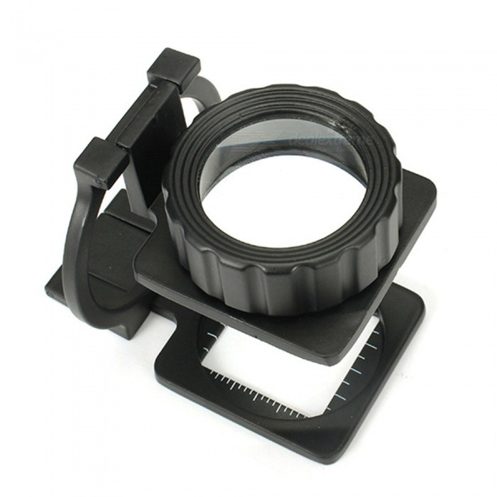Mini Foldable Pocket-Size 20X Microscope Magnifier for Reading - Black