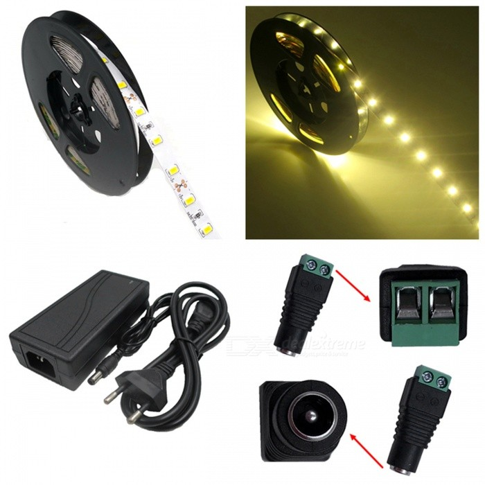 ZHAOYAO 72W Warm White 5630 SMD 300-LED Strip Light with 5A EU Power Charger + DC Adapter - 5M5630 SMD Strips<br>Color BINWarm WhiteModel5630SMD-300L-EU-WWMaterialCircuit boardForm  ColorWhite + BlackQuantity1 DX.PCM.Model.AttributeModel.UnitPower72WRated VoltageDC 12 DX.PCM.Model.AttributeModel.UnitEmitter Type5630 SMD LEDTotal Emitters300Color Temperature2800-3500KWavelength0Actual Lumens25-7000 DX.PCM.Model.AttributeModel.UnitPower AdapterEU PlugPacking List1 x LED Strip Light1 x 5A EU Plug Power supply1 x DC Connector<br>