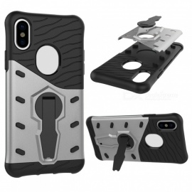 Mini Smile TPU + PC Back Case w/ Holder Stand for IPHONE X - Silver