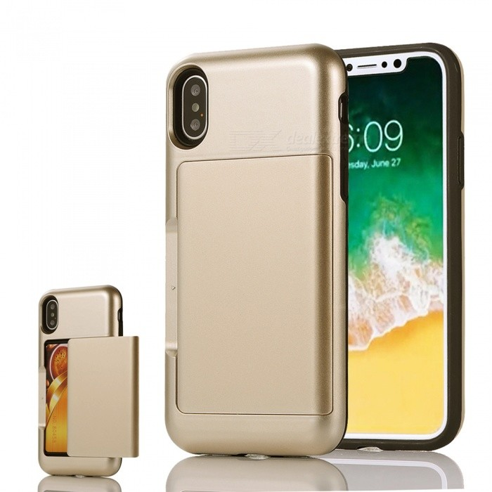 Mini Smile Premium PC + TPU Protective Case w/ Card Slot for IPHONE X - GoldenPlastic Cases<br>Form  ColorGoldenModelIX-BHQuantity1 DX.PCM.Model.AttributeModel.UnitMaterialPC + TPUCompatible ModelsiPhone XDesignMixed Color,Card SlotStyleBack CasesPacking List1 x Case<br>