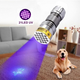 21-LED UV Purple Light Aluminum LED Flashlight UV Sterilizer Best Disinfectant (395-400nm)