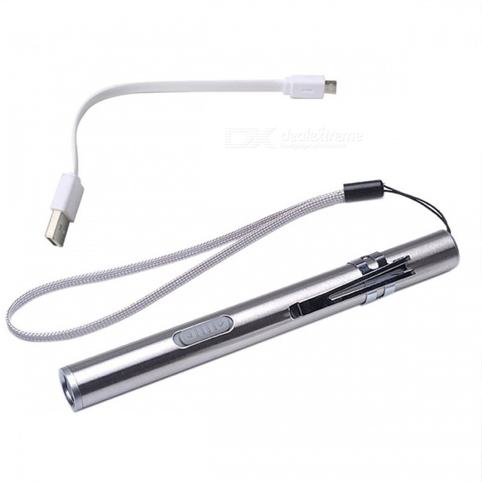 Mini Waterproof USB Rechargeable LED Flashlight Torch Lamp with Strap