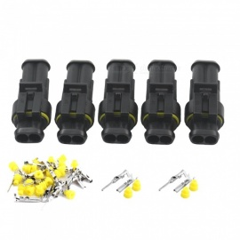 Qook JHRH40-005 5 Sets Kit 2 Pin Way Waterproof Electrical Wire Connectors Plugs