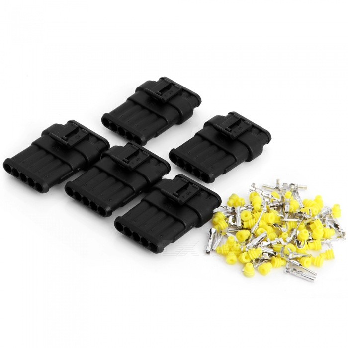 Qook JHIA72-005 5 Sets Kit 5 Pin Way Waterproof Electrical Wire Connectors PlugsOther Gadgets<br>Form  Color5 Sets / 5-WayModelJHIA72-005Quantity5 DX.PCM.Model.AttributeModel.UnitMaterialPlastic + metal terminalShade Of ColorBlackPacking List5 Sets x Connectors<br>