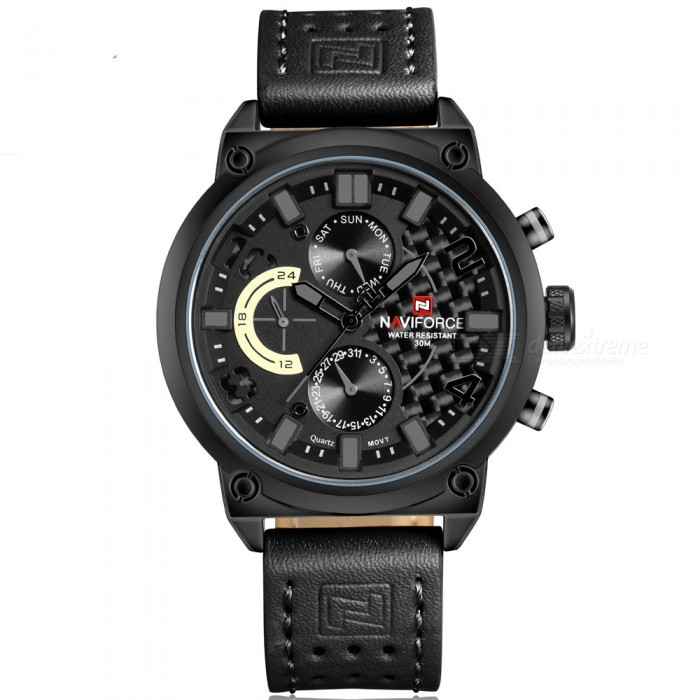 NAVIFORCE 9068L Mens Sports Army Leather Wrist Quartz Watch - Black, Gray (Without Gift Box)Sport Watches<br>Form  ColorBlack, Gray (Without Gift Box)ModelNF9068LQuantity1 DX.PCM.Model.AttributeModel.UnitShade Of ColorBlackCasing MaterialStainless SteelWristband MaterialLeatherSuitable forAdultsGenderMenStyleWrist WatchTypeSports watchesDisplayAnalogMovementQuartzDisplay Format12 hour formatWater ResistantWater Resistant 3 ATM or 30 m. Suitable for everyday use. Splash/rain resistant. Not suitable for showering, bathing, swimming, snorkelling, water related work and fishing.Dial Diameter4.8 DX.PCM.Model.AttributeModel.UnitDial Thickness1.2 DX.PCM.Model.AttributeModel.UnitWristband Length25.5 DX.PCM.Model.AttributeModel.UnitBand Width2.2 DX.PCM.Model.AttributeModel.UnitBattery1 x Button batteryPacking List1 x Watch<br>