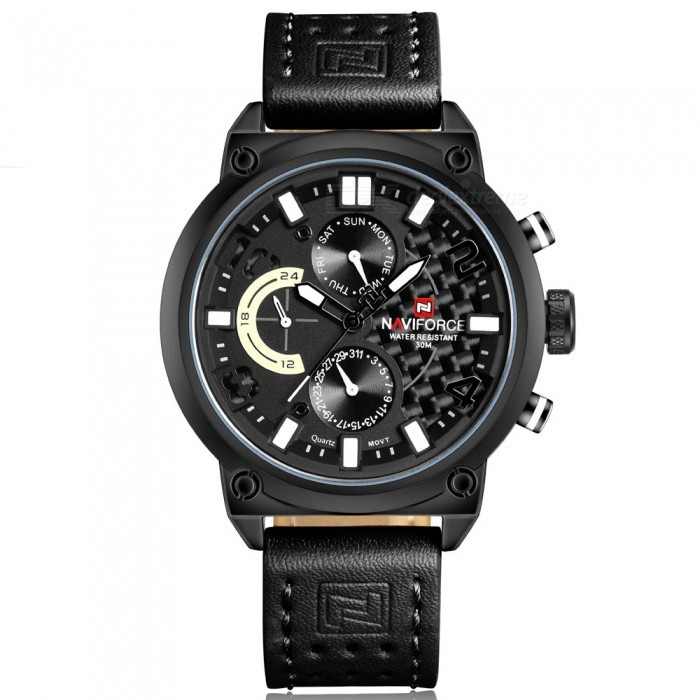 NAVIFORCE 9068L Mens Sports Army Leather Wrist Quartz Watch - Black, White (Without Gift Box)Sport Watches<br>Form  ColorBlack, White (Without Gift Box)ModelNF9068LQuantity1 DX.PCM.Model.AttributeModel.UnitShade Of ColorBlackCasing MaterialStainless SteelWristband MaterialLeatherSuitable forAdultsGenderMenStyleWrist WatchTypeSports watchesDisplayAnalogMovementQuartzDisplay Format12 hour formatWater ResistantWater Resistant 3 ATM or 30 m. Suitable for everyday use. Splash/rain resistant. Not suitable for showering, bathing, swimming, snorkelling, water related work and fishing.Dial Diameter4.8 DX.PCM.Model.AttributeModel.UnitDial Thickness1.2 DX.PCM.Model.AttributeModel.UnitWristband Length25.5 DX.PCM.Model.AttributeModel.UnitBand Width2.2 DX.PCM.Model.AttributeModel.UnitBattery1 x Button batteryPacking List1 x Watch<br>