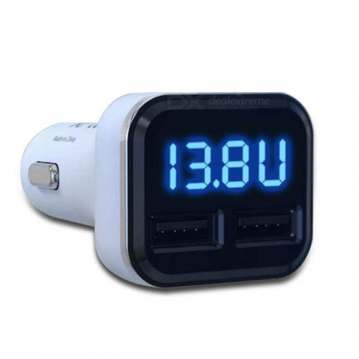 Smart Car Charger Cigarette Lighter Charger with Dual USB / LED Display Volt Current Amp Meter - White