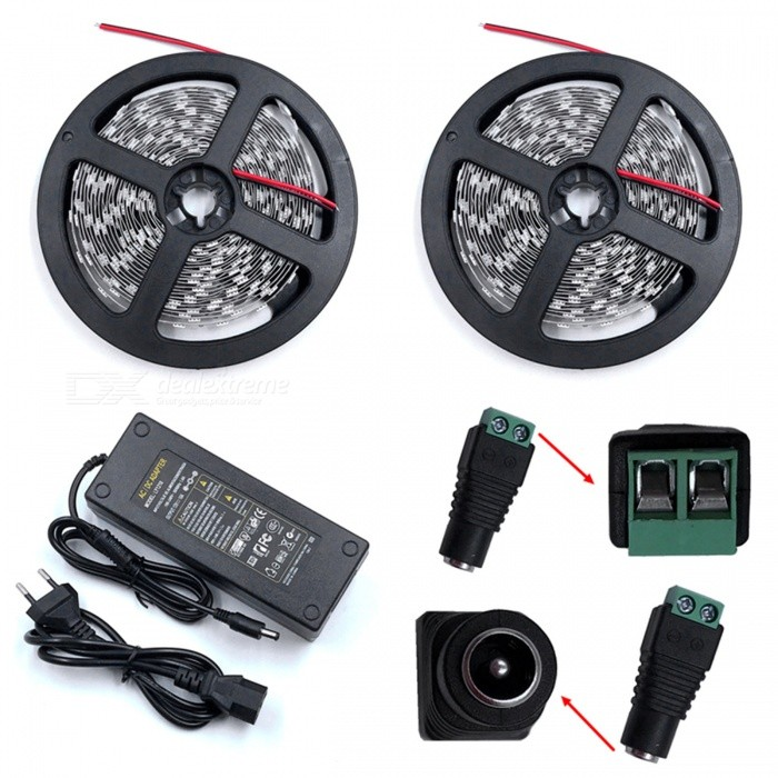 ZHAOYAO 144W Cold White 5050 SMD 600-LED Strip Light with 10A EU Plug Power Adapter Charger + DC Female Connector5050 SMD Strips<br>Form  ColorBlack + Grey + Multi-ColoredColor BINCold WhiteModel5050SMD-600L-EU-WMaterialCircuit boardQuantity1 DX.PCM.Model.AttributeModel.UnitPowerOthers,144WRated VoltageDC 12 DX.PCM.Model.AttributeModel.UnitEmitter Type5050 SMD LEDTotal Emitters600Color Temperature5500-7000KWavelength0Actual Lumens30-14400 DX.PCM.Model.AttributeModel.UnitPower AdapterEU PlugPacking List2 x 5M LED Strip Lights1 x 10A EU Plug Power supply1 x DC Connector<br>