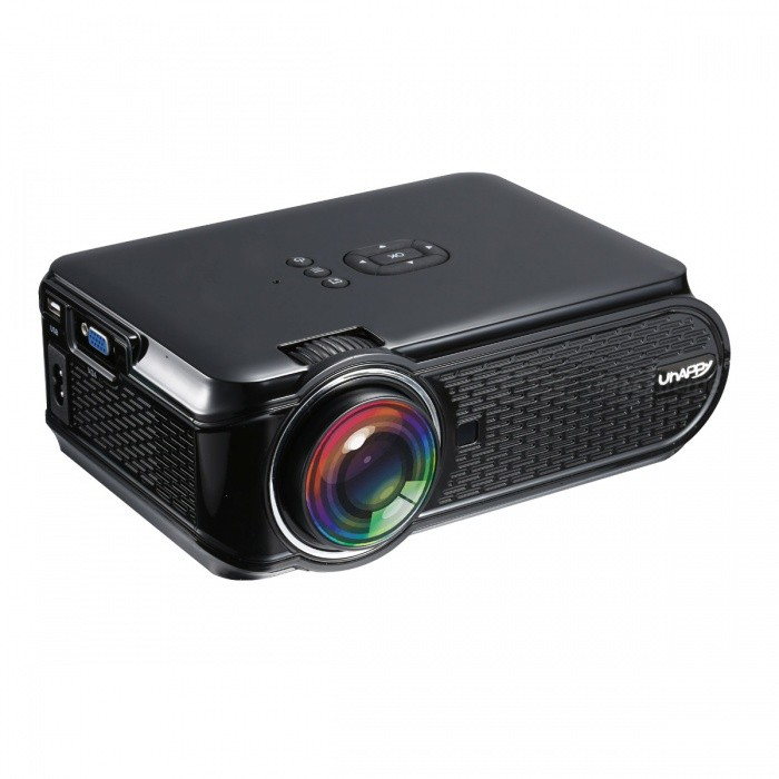 UHAPPY U90 Portable HD LED Mini 1500lumens Projector - BlackProjectors<br>Form  ColorBlack (US Plug)BrandUhappyModelU90Quantity1 DX.PCM.Model.AttributeModel.UnitMaterialABSShade Of ColorBlackOperating SystemNoTypeLCDBrightness1000~1999 lumensBrightness1500 DX.PCM.Model.AttributeModel.UnitMenu LanguageOthers,English, French,Danish,Spanish,Croatian,German, Greek,Italian,Hungarian,Portuguese,Slovenian,Norwegian Nynorsk,Russian,Serbian,Finnish,Slovak,Swedish,ChineseBuilt-in SpeakersYesLife Span20000 DX.PCM.Model.AttributeModel.UnitEmitter BINLEDDisplay Size37-130inchsAspect RatioOthers,16:9 Native, 4:3 compatitable; switch freelyContrast Ratio1000:1Native Resolution800x480Maximum Resolution1080PMaximum Resolution1080PThrow Distance1.2 ~ 3.8meterBuilt-in Memory / RAMNoStorageNoExternal MemorySD 32GBAudio FormatsOthers,MP3, AAC, WMA, RM, FLAC, OggVideo FormatsOthers,Supports *.mkv,*.wmv,*.mpg, *.mpeg, *.dat, *.avi, *.mov, *.iso, *.mp4, *.rm and *.jpg file formatsPicture FormatsOthers,HD JPEG/BMP/GIF/PNG/TIFFInput ConnectorsAV,VGA,USB,HDMIPower Consumption60W~79WPower Consumption60WPower Supply2.5A,100-250V, 55WPower AdapterUS PlugCertificationCEPacking List1 x Projector 1 x AV transfer cable (10cm±2cm)1 x Remote Control (2 x AAA batteries, not included)1 x User manual (English)1 x US plug adapter (100~240V, 2.5A, 90cm)1 x Big screw<br>