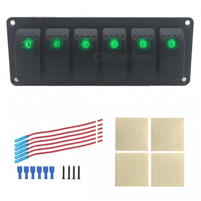 IZTOSS S2899-Z 6-Group Single Lamp Aluminum Switch Panel for Car / RV / Yacht Refitting - Black, GreenCar Switches<br>Form  ColorGrass Green + BlackModelS2900-ZQuantity1 DX.PCM.Model.AttributeModel.UnitMaterialMetal + plasticIndicator LightYesRate Voltage12V-24VRated Current10A-20 DX.PCM.Model.AttributeModel.UnitPacking List1 x Switch panel<br>